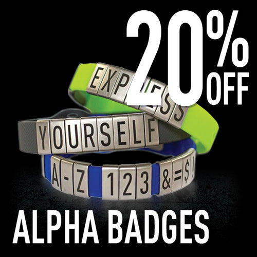 Express yourself with ALPHA Badges 20% off