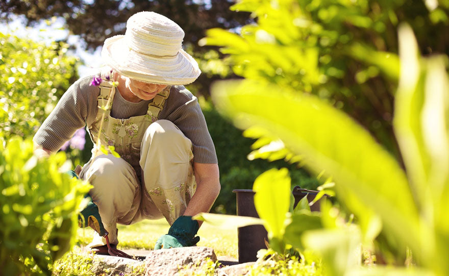 elderly woman gardening