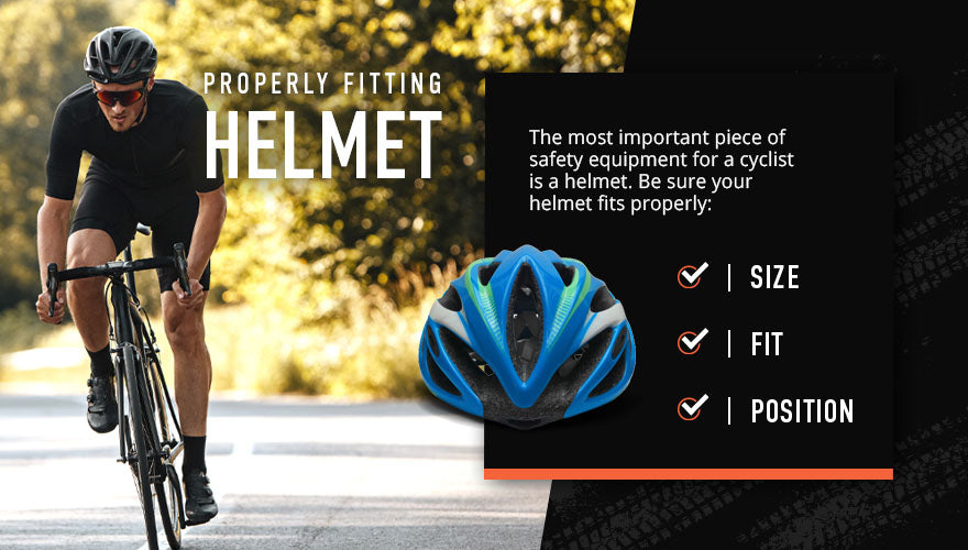 properly fitting helmet graphic