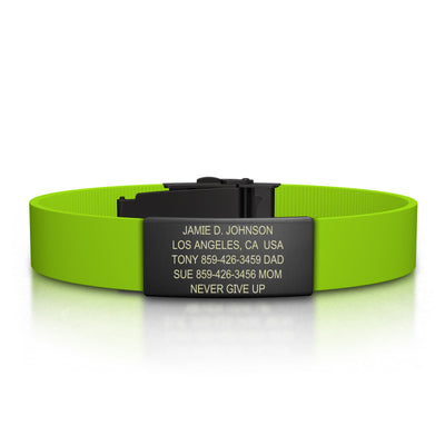 ROAD iD Bracelet 13mm Graphite on Lime Silicone Clasp