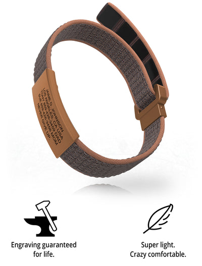 Wrist ID Sport Nylon Loop 19mm Rose Gold