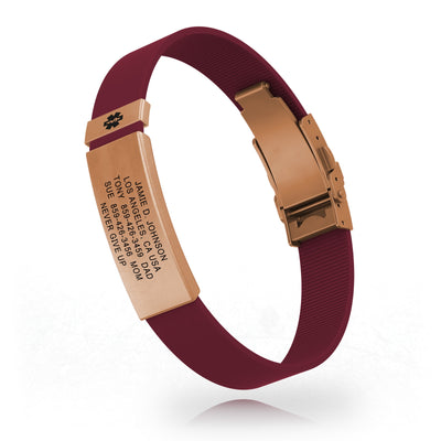 ROAD iD Rose Gold Medical ID in Merlot