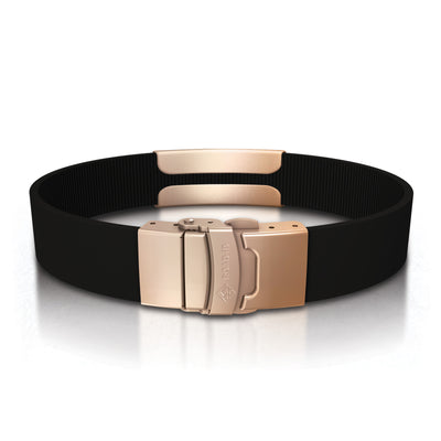 ROAD iD Bracelet 13mm Rose Gold on Black Silicone Clasp Reverse View