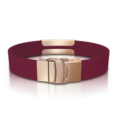 ROAD iD Bracelet 13mm Rose Gold on Merlot Silicone Clasp