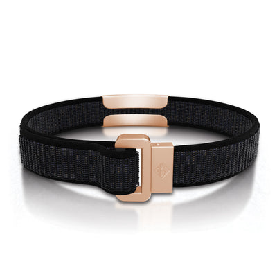 ROAD iD Wrist ID Bracelet 13mm Rose Gold on Cosmic Nylon Loop Reverse Side