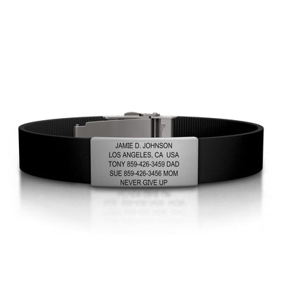 ROAD iD Bracelet 13mm Slate on Black Silicone Clasp