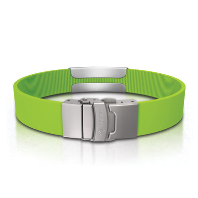 ROAD iD Bracelet 13mm Slate on Lime Silicone Clasp Reverse View