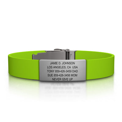 ROAD iD Bracelet 13mm Slate on Lime Silicone Clasp