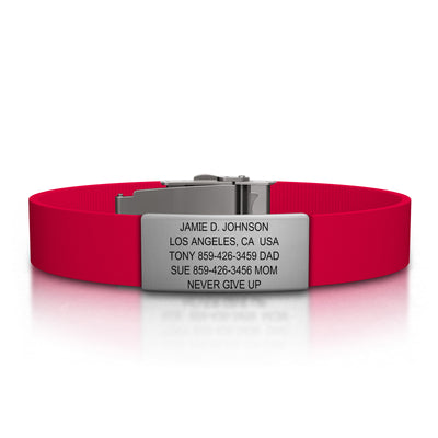 ROAD iD Bracelet 13mm Slate on Red Silicone Clasp