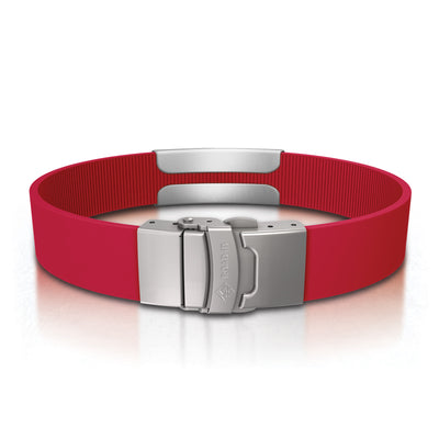 ROAD iD Bracelet 13mm Slate on Red Silicone Clasp Reverse View