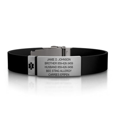 13mm Slate Silicone Clasp Medical ID