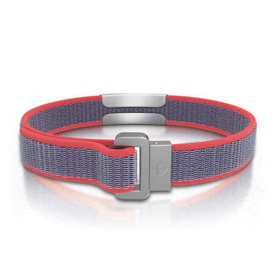 ROAD iD Wrist ID Bracelet 13mm Slate on Coral Nylon Loop Reverse Side