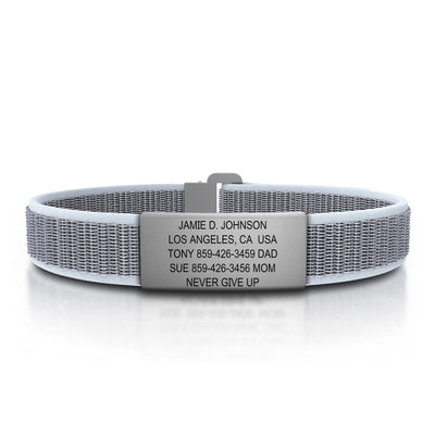 ROAD iD Wrist ID Bracelet 13mm Slate on Hazy Nylon Loop