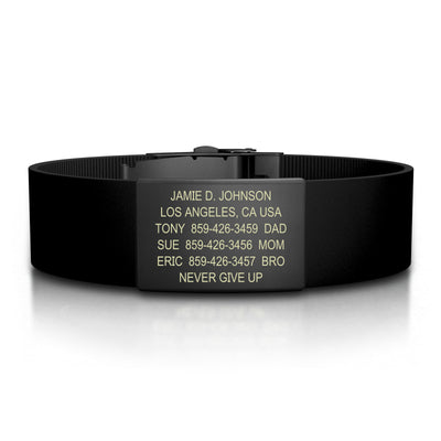 ROAD iD Bracelet 19mm Graphite on Black Silicone Clasp