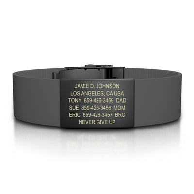 ROAD iD Bracelet 19mm Graphite on Gray Silicone Clasp