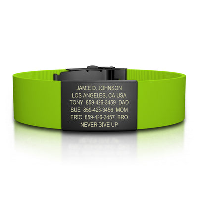 ROAD iD Bracelet 19mm Graphite on Lime Silicone Clasp