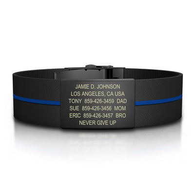 ROAD iD Bracelet 19mm Graphite on Thin Blue Line Silicone Clasp