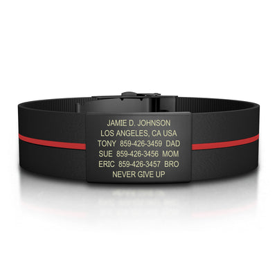 ROAD iD Bracelet 19mm Graphite on Thin Red Line Silicone Clasp