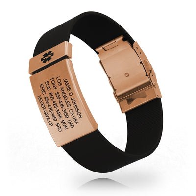 Medical ID Elite Silicone Clasp 19mm Rose Gold