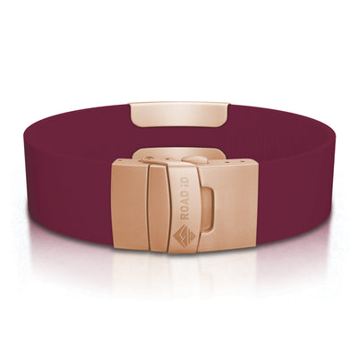 ROAD iD Wrist ID Bracelet 19mm Rose Gold on Merlot Silicone Clasp Reverse Side