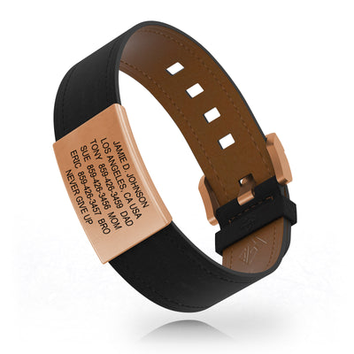 ROAD iD Bracelet 19mm Rose Gold on Carbon Leather Buckle