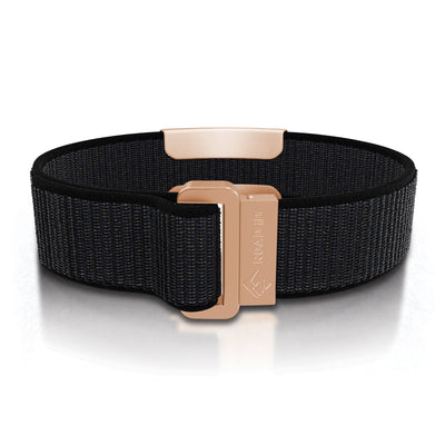 ROAD iD Wrist ID Bracelet 19mm Rose Gold on Cosmic Nylon Loop Reverse Side