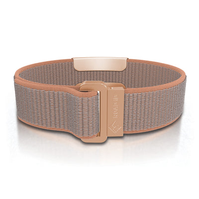ROAD iD Wrist ID Bracelet 19mm Rose Gold on Sand Nylon Loop Reverse Side