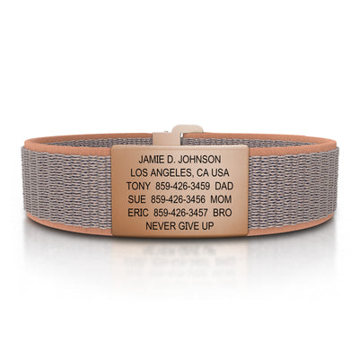 ROAD iD Wrist ID Bracelet 19mm Rose Gold on Sand Nylon Loop
