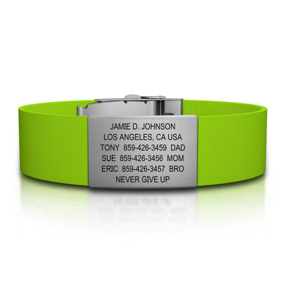 ROAD iD Wrist ID Bracelet 19mm Slate on Lime Silicone Clasp