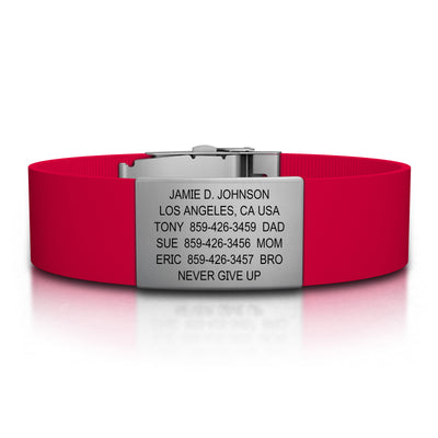 ROAD iD Wrist ID Bracelet 19mm Slate on Red Silicone Clasp