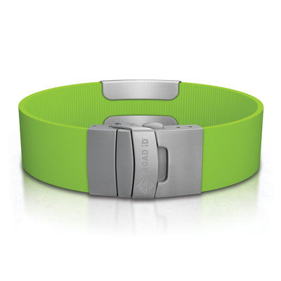 ROAD iD Wrist ID Bracelet 19mm Slate on Lime Silicone Clasp Reverse Side