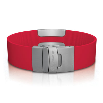 ROAD iD Wrist ID Bracelet 19mm Slate on Red Silicone Clasp Reverse Side
