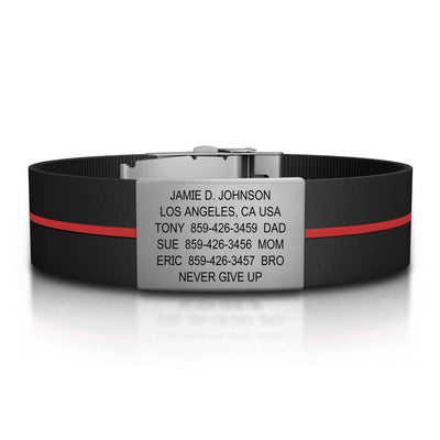 ROAD iD Wrist ID Bracelet 19mm Slate on Thin Red Line Silicone Clasp