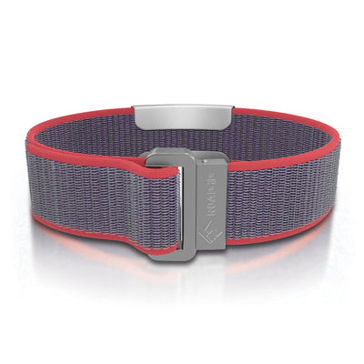 ROAD iD Wrist ID Bracelet 19mm Slate on Coral Nylon Loop Reverse Side