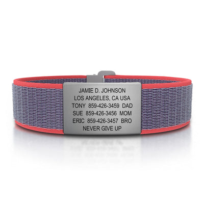 ROAD iD Wrist ID Bracelet 19mm Slate on Coral Nylon Loop