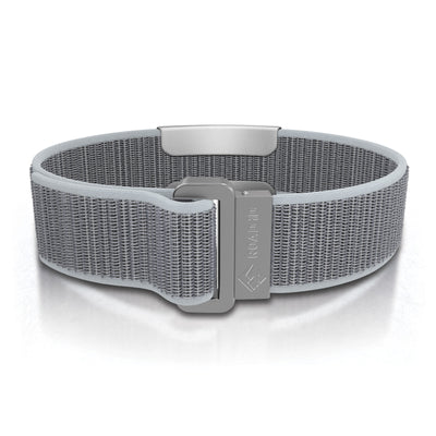 ROAD iD Wrist ID Bracelet 19mm Slate on Hazy Nylon Loop Reverse Side