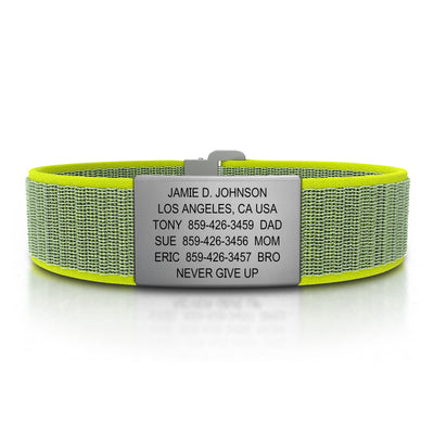 ROAD iD Wrist ID Bracelet 19mm Slate on Neon Nylon Loop