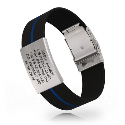 ROAD iD Wrist ID Bracelet 19mm Slate on Thin Blue Line Silicone Clasp