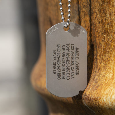 The Fixx ID dog tag in sunlight
