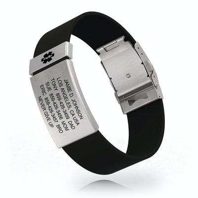 Wrist ID Silicone Clasp Medical 19mm Slate