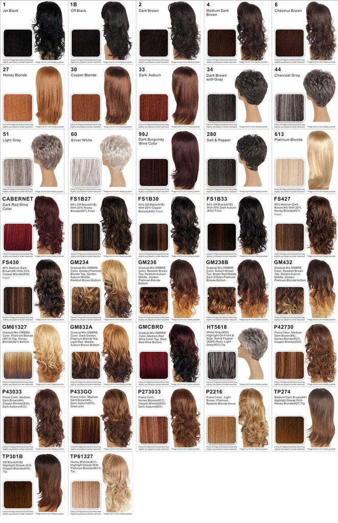 African American Wigs Color Chart