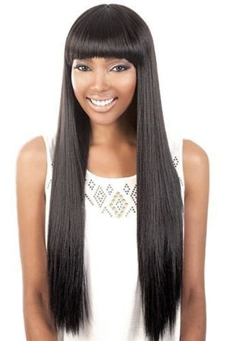 Long Straight Human Hair Blend Wig | Wigs for Black Women