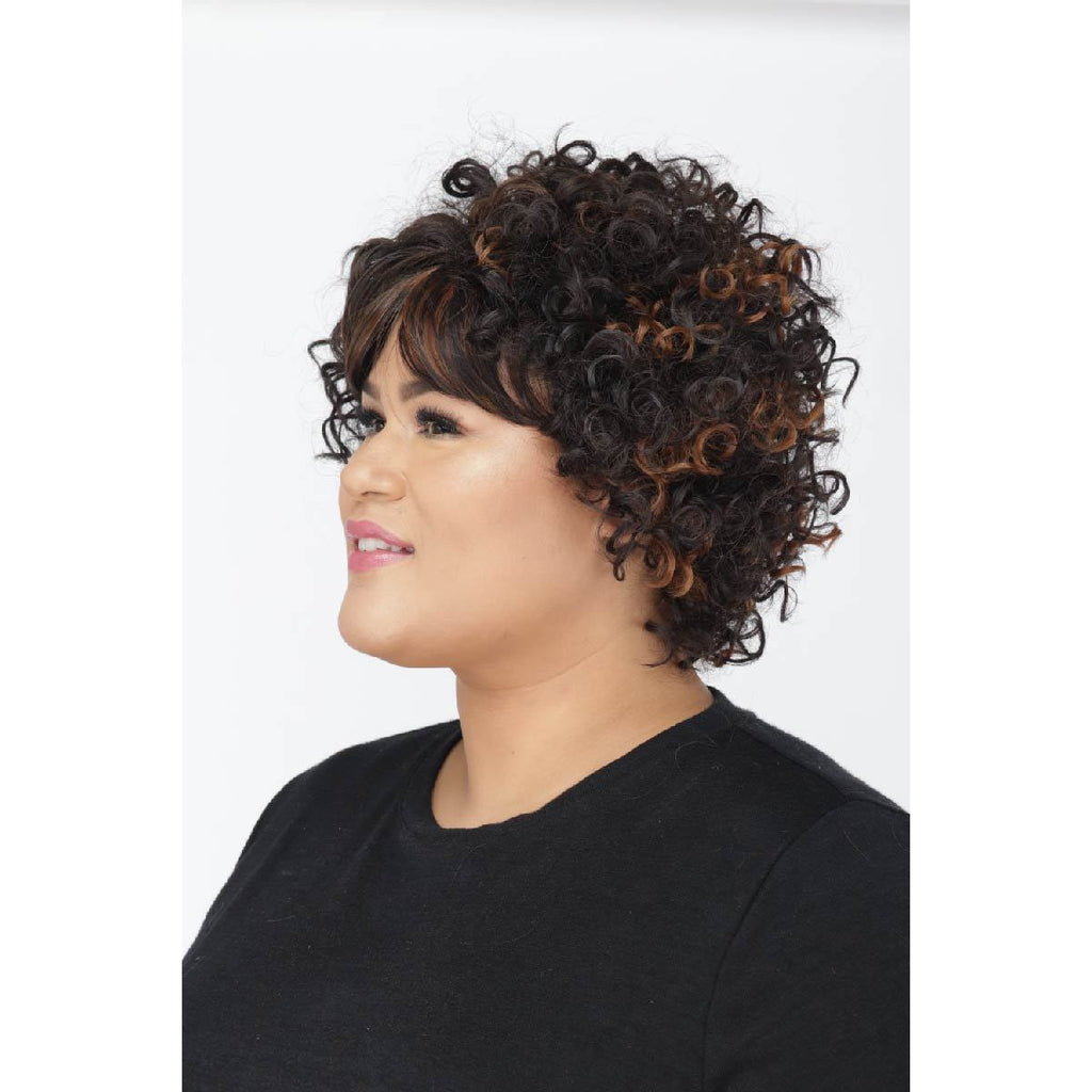 Petite Jenise | Small Cap Size Wig | Synthetic Medium Curly | African American Wigs