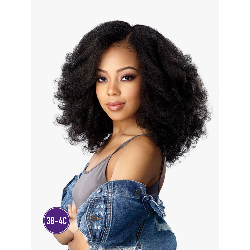 Curly Blow-Out Yaki Texture Medium Length Lace Front Wig