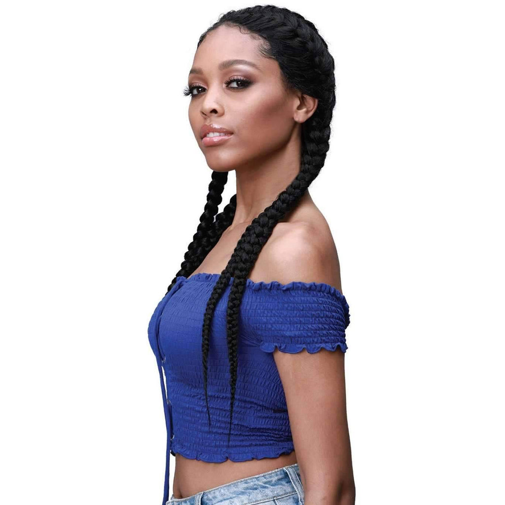 Alicia | Ghana Style Braided Synthetic Lace Front Wig |  Bobbi Boss Wig - African American Wigs