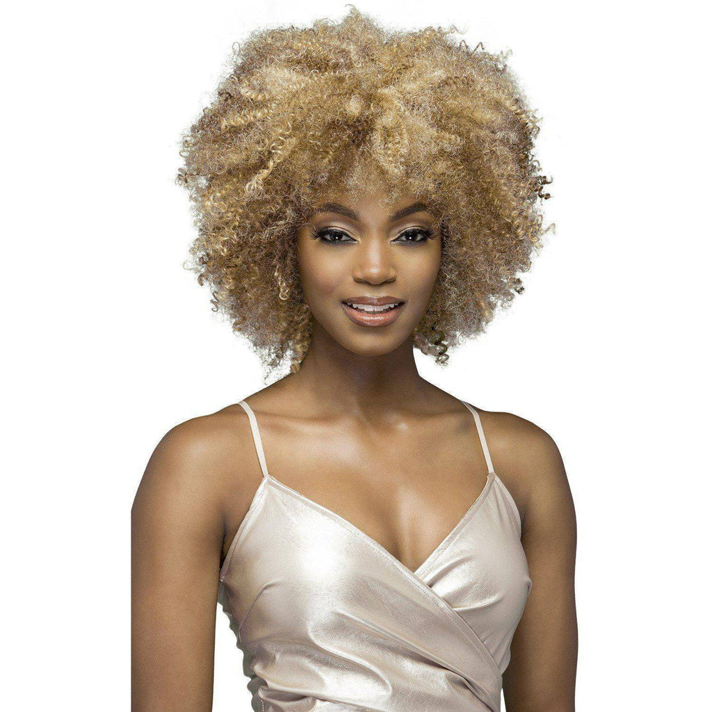 "BETH 11"" LAYERED TIGHT AFRO COIL CURL WITH BANGS - African American Wigs"