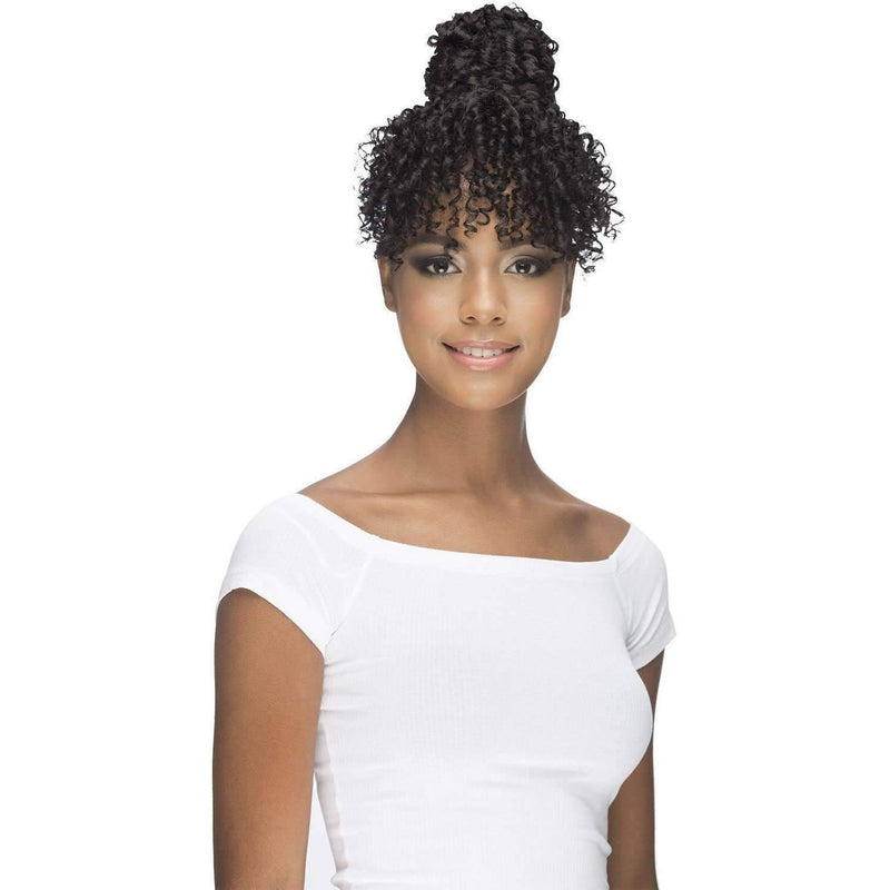 "BPB-DAHLIA | 6"" BOHEMIAN SYNTHETIC CURL BANG WITH HIGH WRAPPED DOME - African American Wigs"