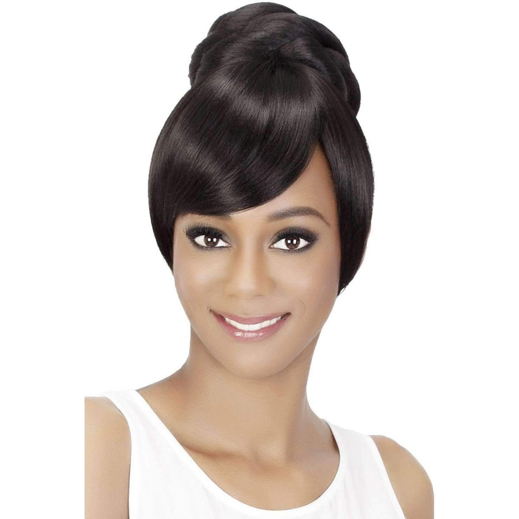 BPB-SHEENA | Heat Friendly Synthetic Bang & Bun (Honeycomb Base) - African American Wigs