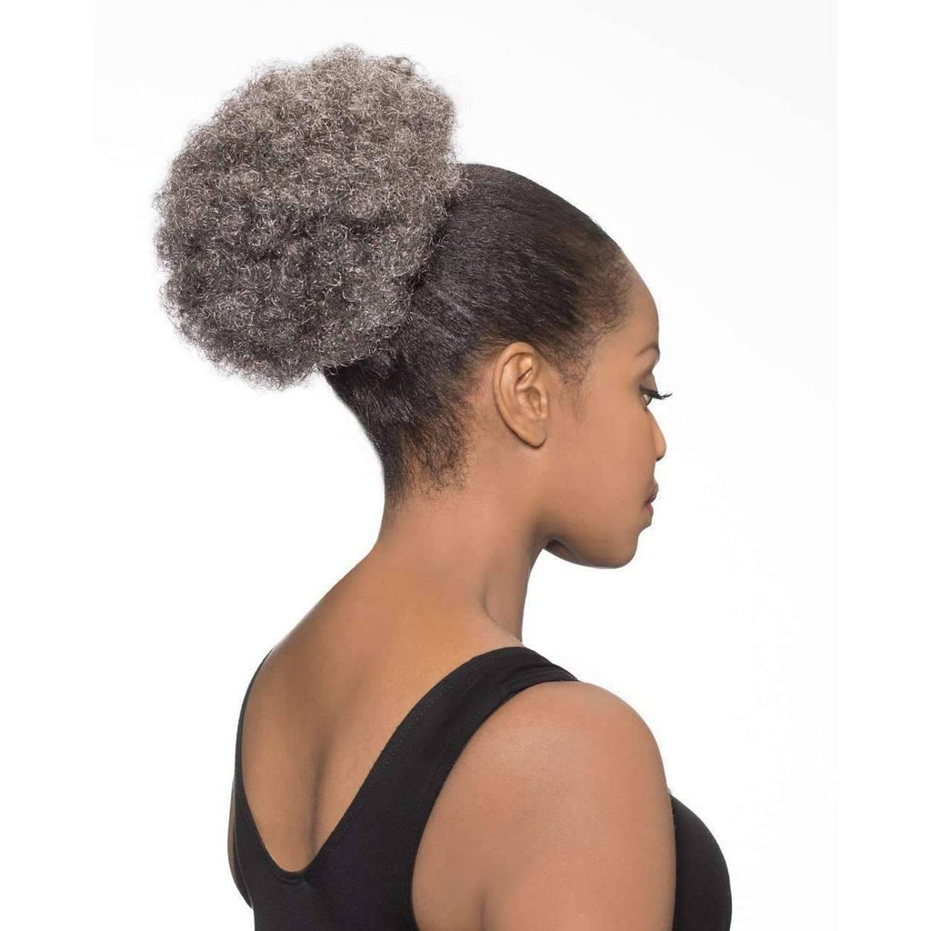 DS07 | Grey Afro Puff Synthetic Drawstring Ponytail Hairpiece - African American Wigs