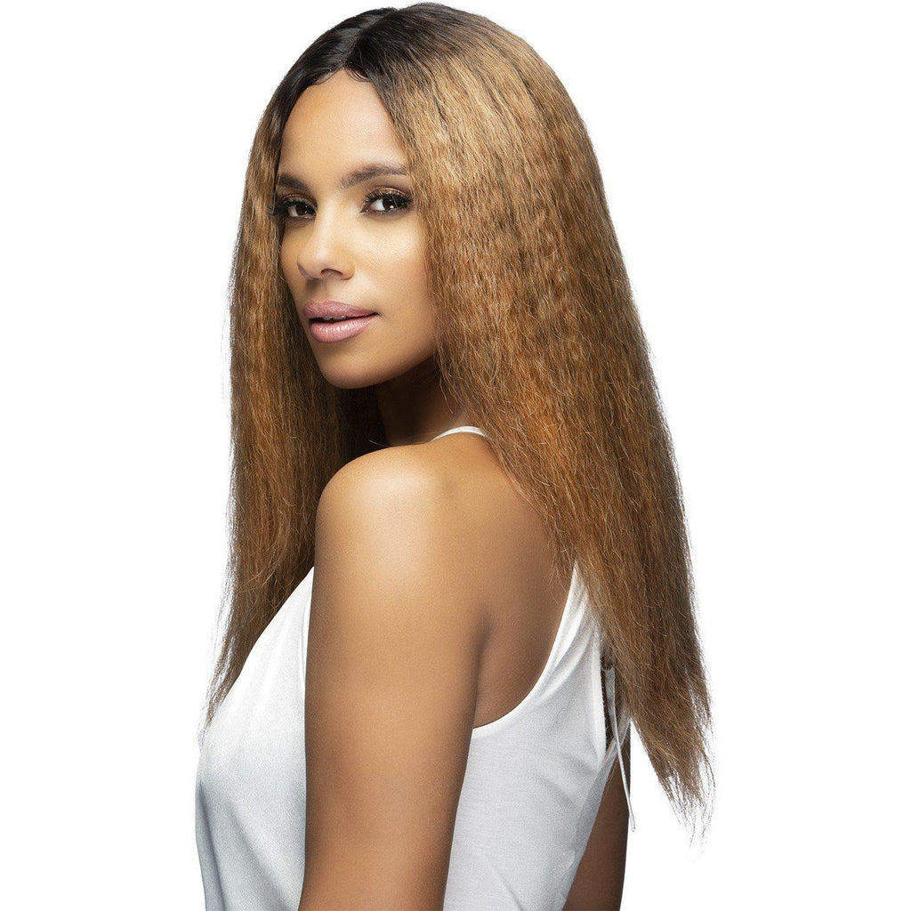 "EMERSON 21"" LAYERED CRIMPS Remi Human Hair Lace Front Wig Vivica Fox"